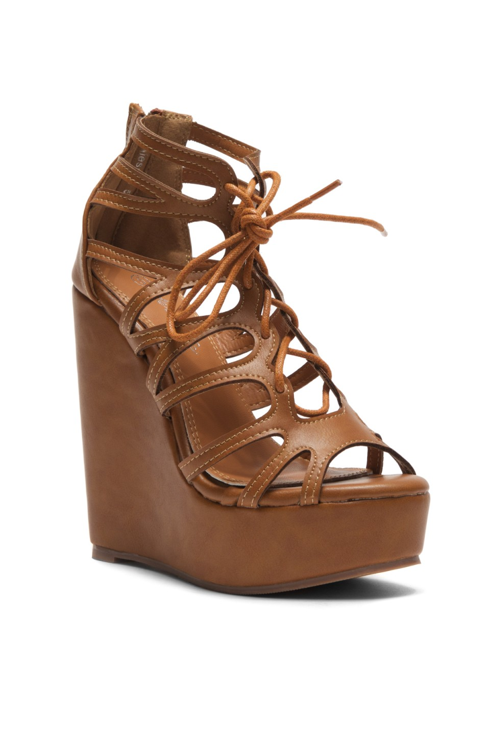 Women's Cognac Alessaa 5-inch Wedge Sandal with Faux Leather Styling