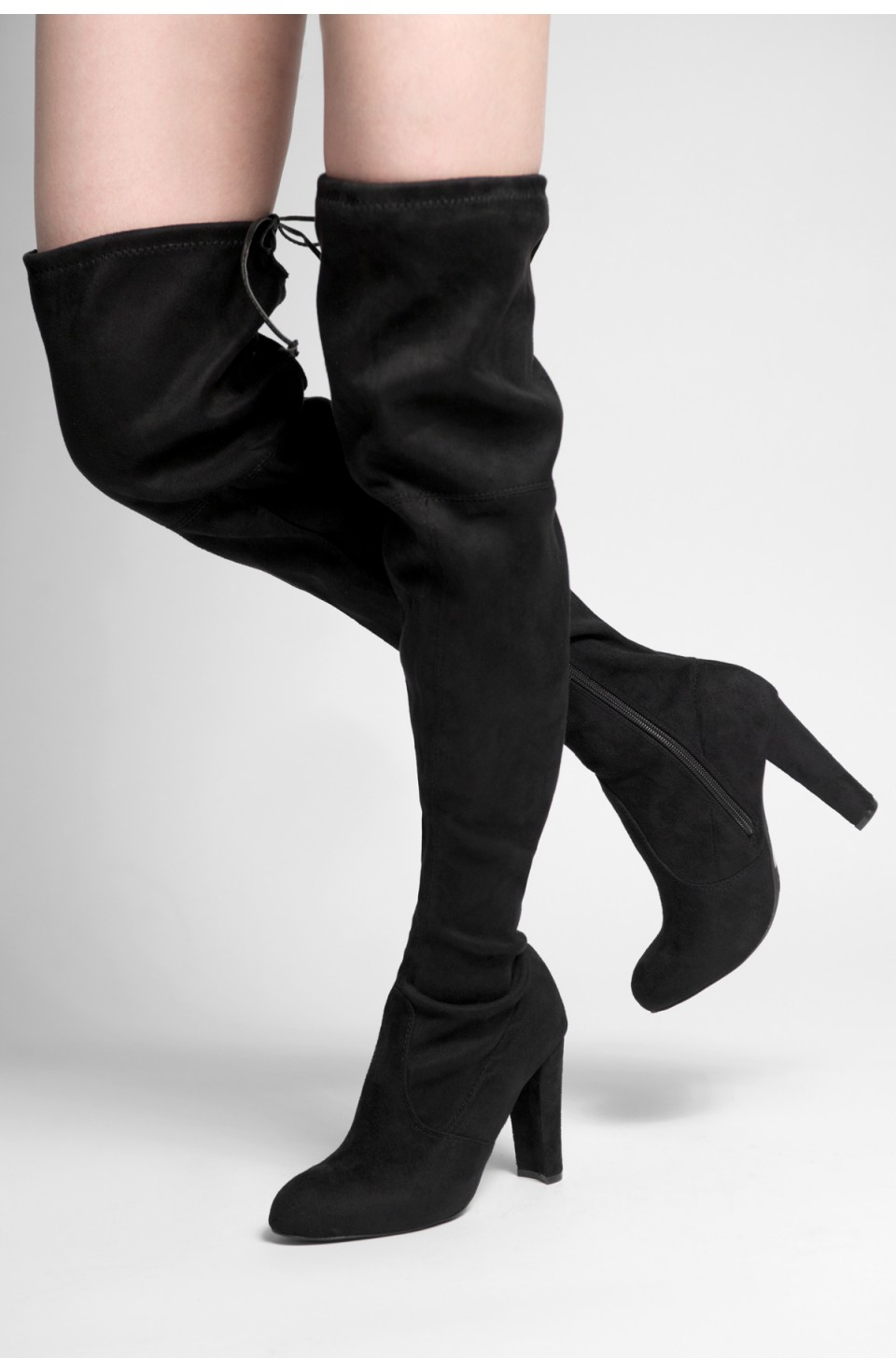 HerStyle Women Amaya-01 Faux Suede Chunky Heel Thigh High Boots (Black)