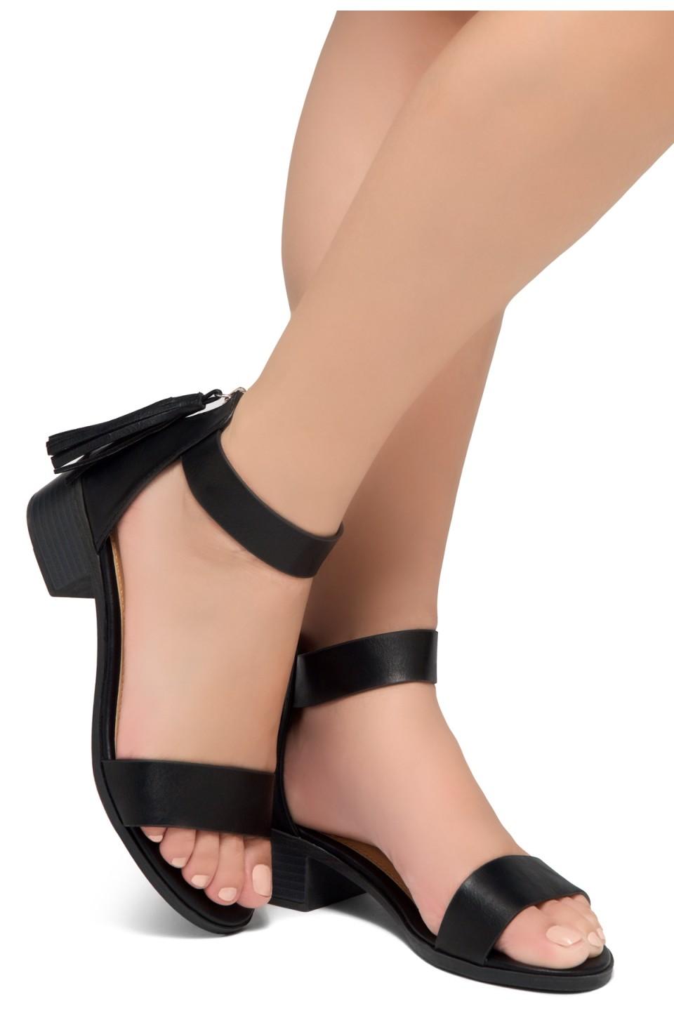 HerStyle Bruefly- Low Block Heel Back Zipper with Tassels Sandal (Black)