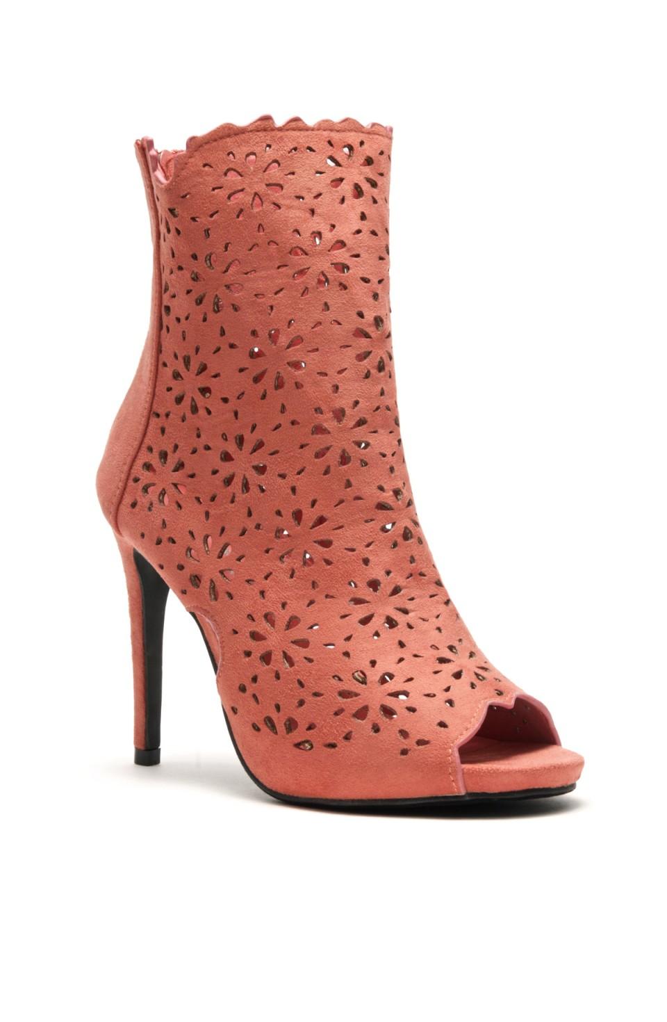 Women's Mauve Cardross peep Toe, Zipper, Stiletto, Lacer cutout design, high heel sexy Booties