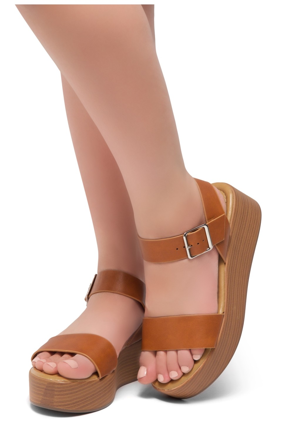 HerStyle Carita- Open Toe Ankle Strap Platform Wedge (Cognac/Wood)