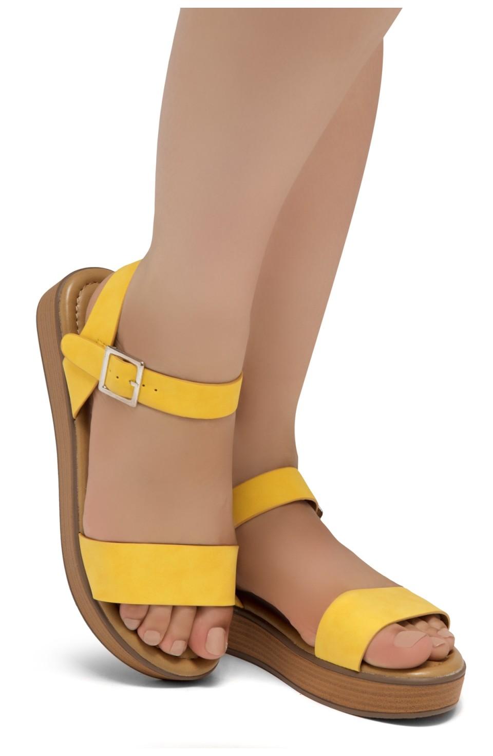 Herstyle Carli-Women's Platform Sandal Open Toe (Yellow)