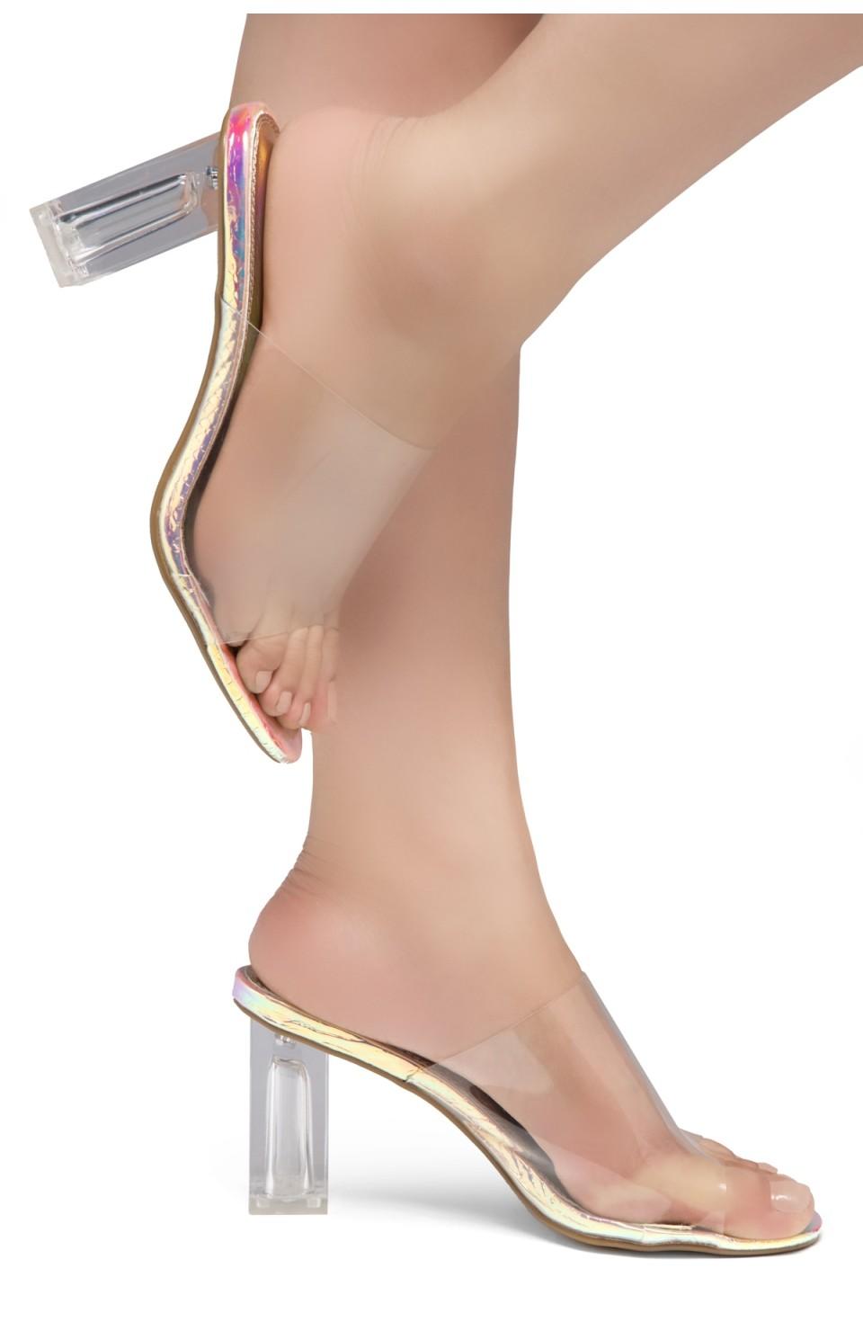 Shoe Land Cllaary-L Perspex heel, Slide On Sandals(2010 CLR/RAINBOWSNK)