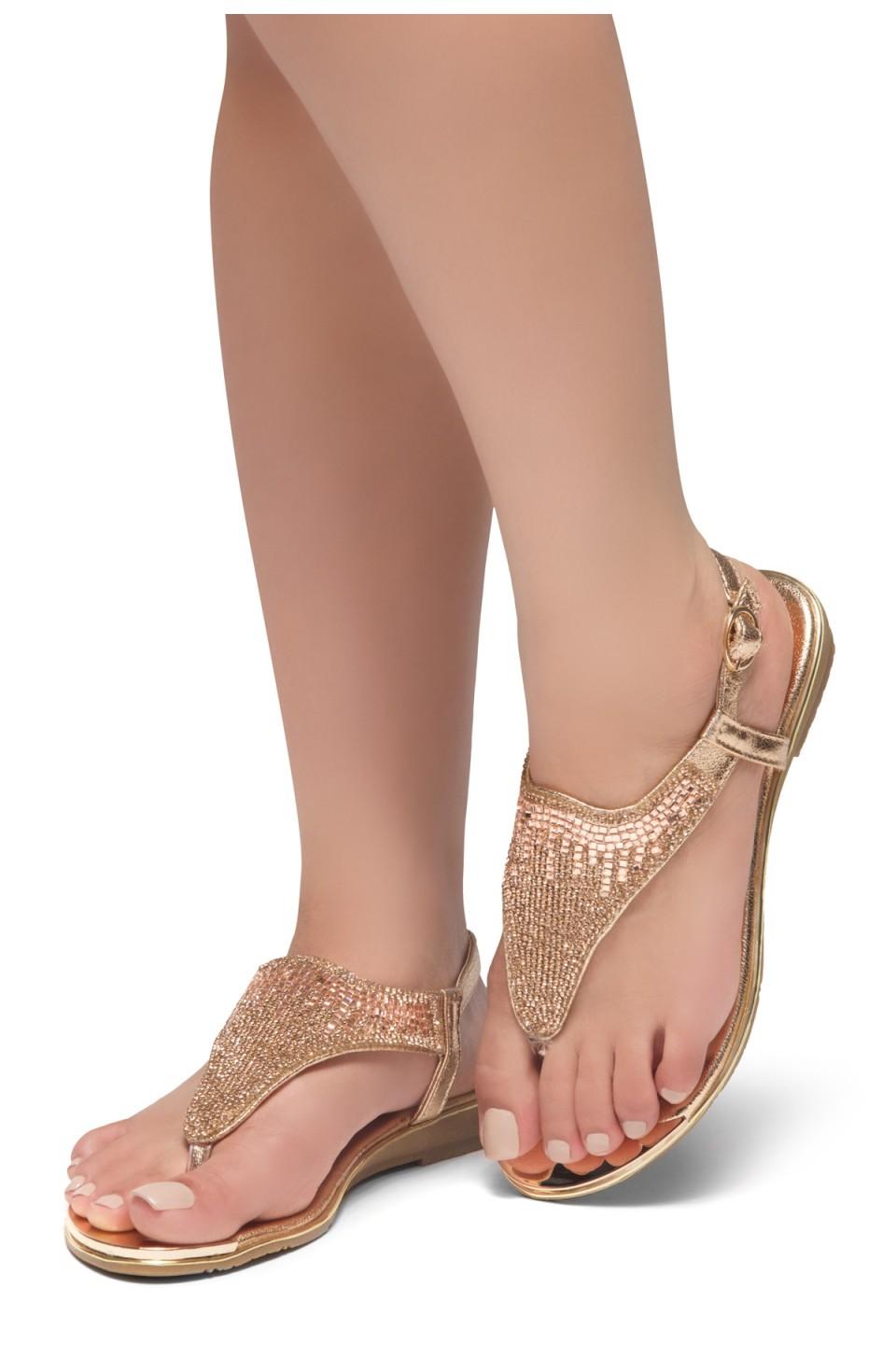 HerStyle COSMIC LOVE-Rhinestone Details Vamp, Open Toe, Flat Sandals (RoseGold)