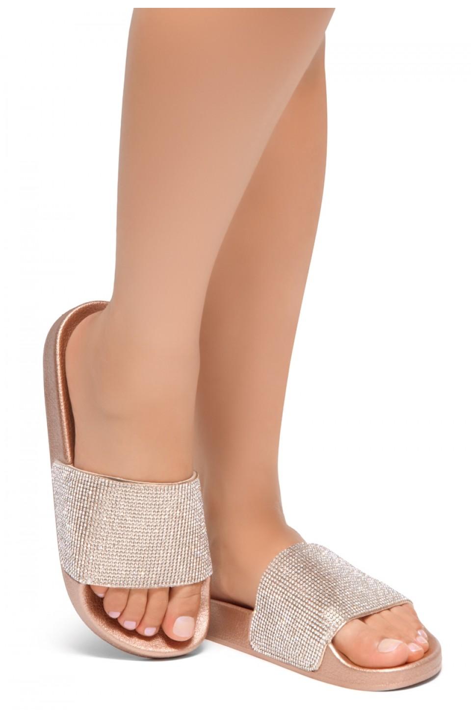 HerStyle Cosmic Open Toe Jewelled Embellishment Slide Sandal (RoseGold)