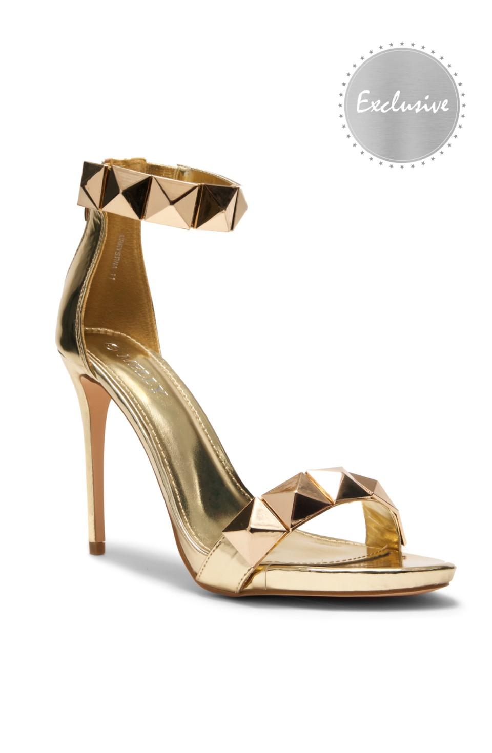 HerStyle Crrystina Pyramid Studded stiletto Heels (Gold)
