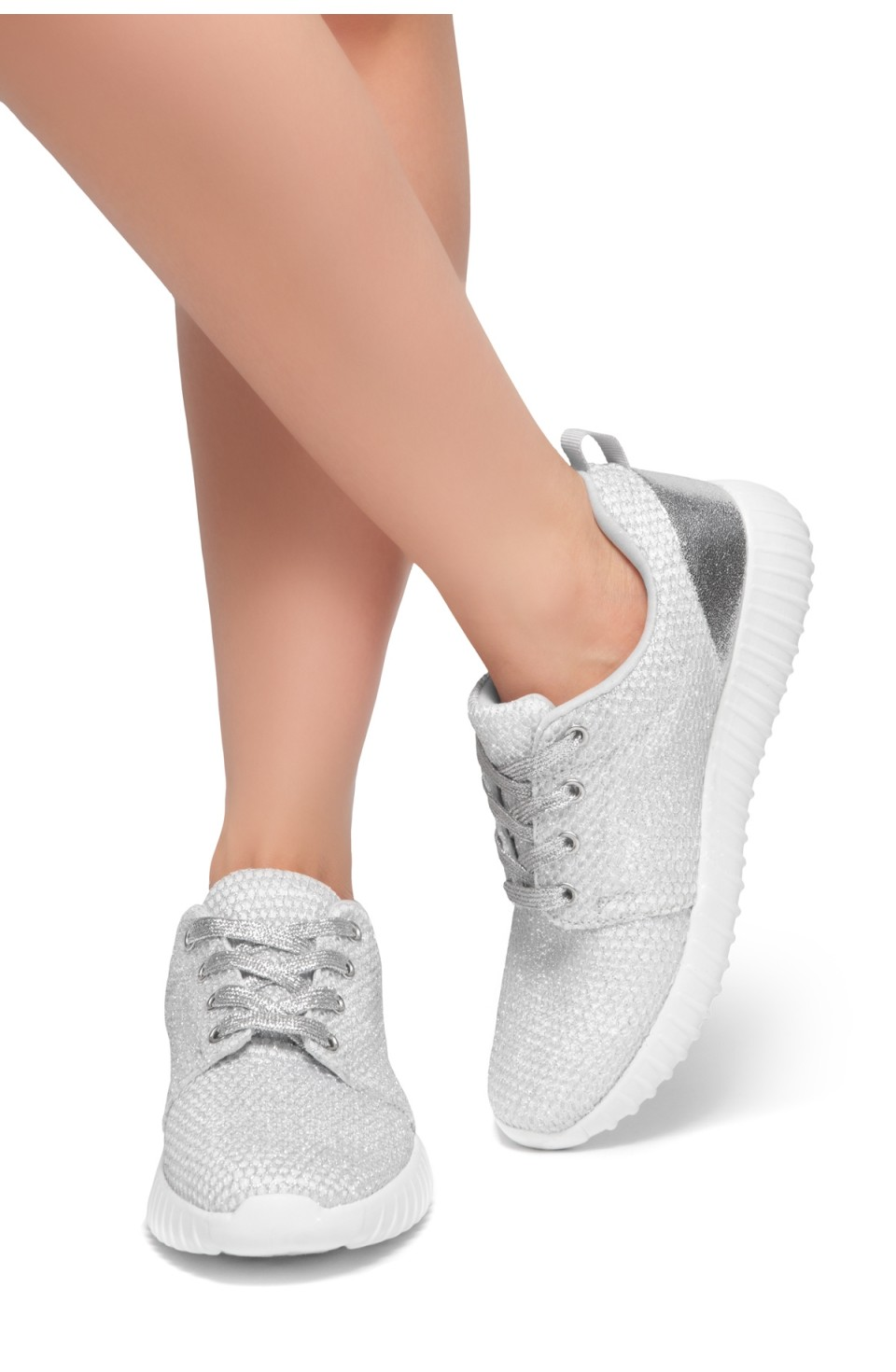 HerStyle EASY RIDER- Front Lace Up, Spec Flyknit Glitter Contrast Chic Style Sneakers (Silver)