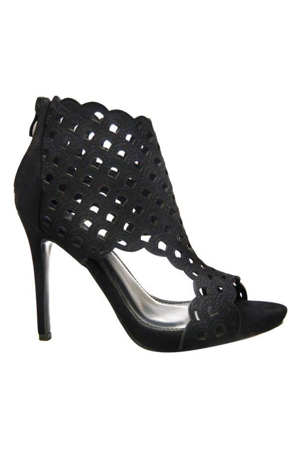 Women's Black Emaaleena 4.5-inch Open-Toe Sandal with Lacey Vamp