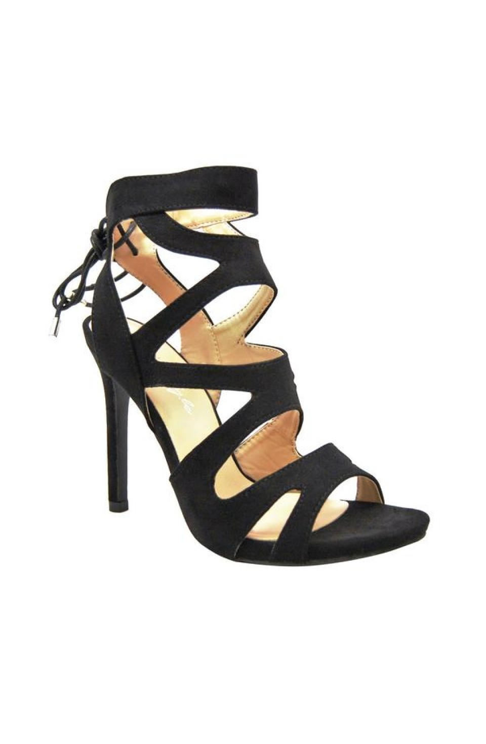Women's Black Estrella 4-inch Heeled Sandal with Lace-up Back