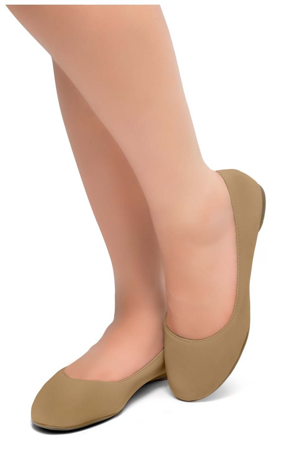 HerStyle Ever Memory -Almond Toe, No detail, Ballet Flat (Tan)