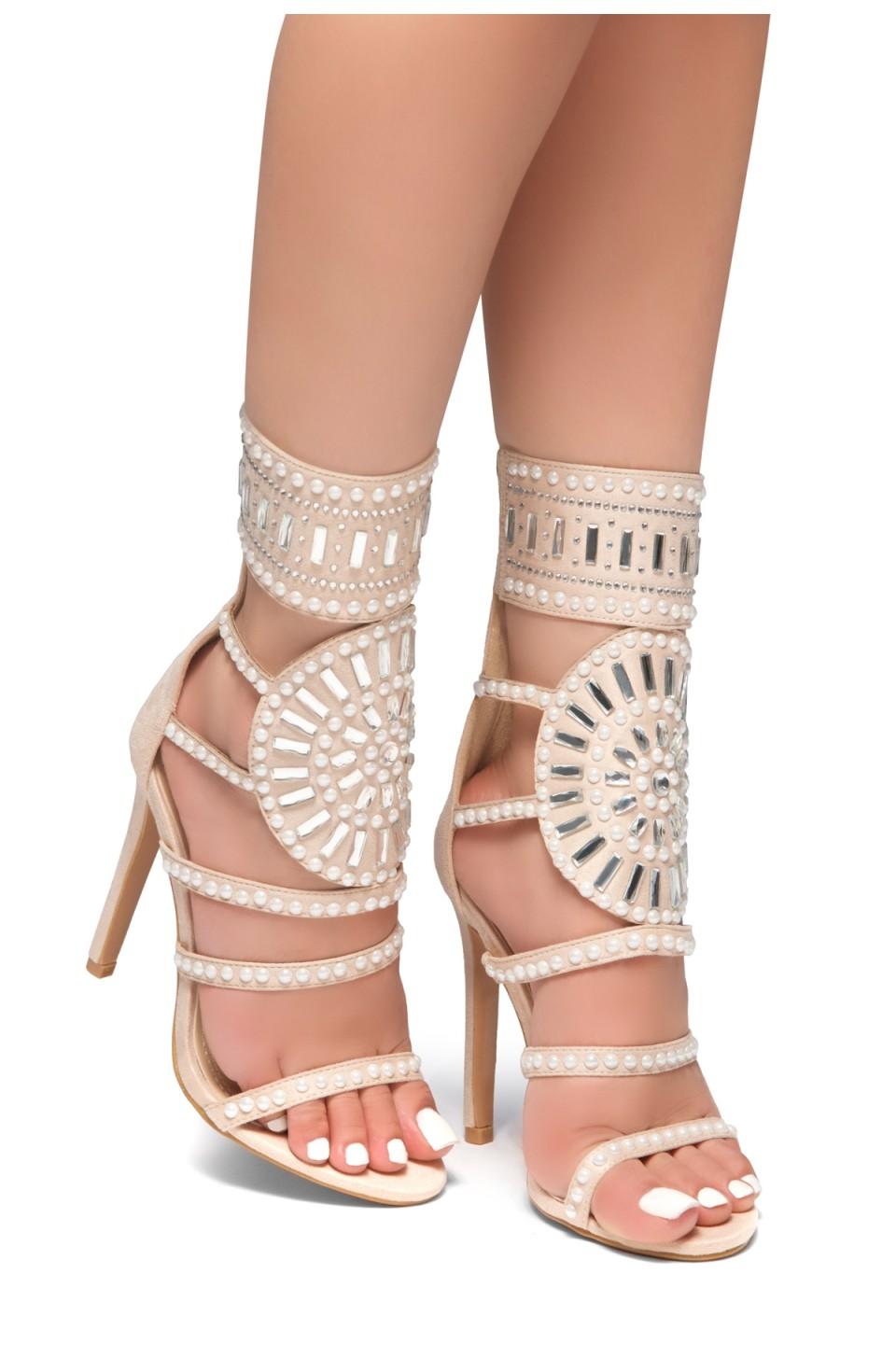 HerStyle Fashion Crowd stiletto heel, jeweled embellishments (Nude)