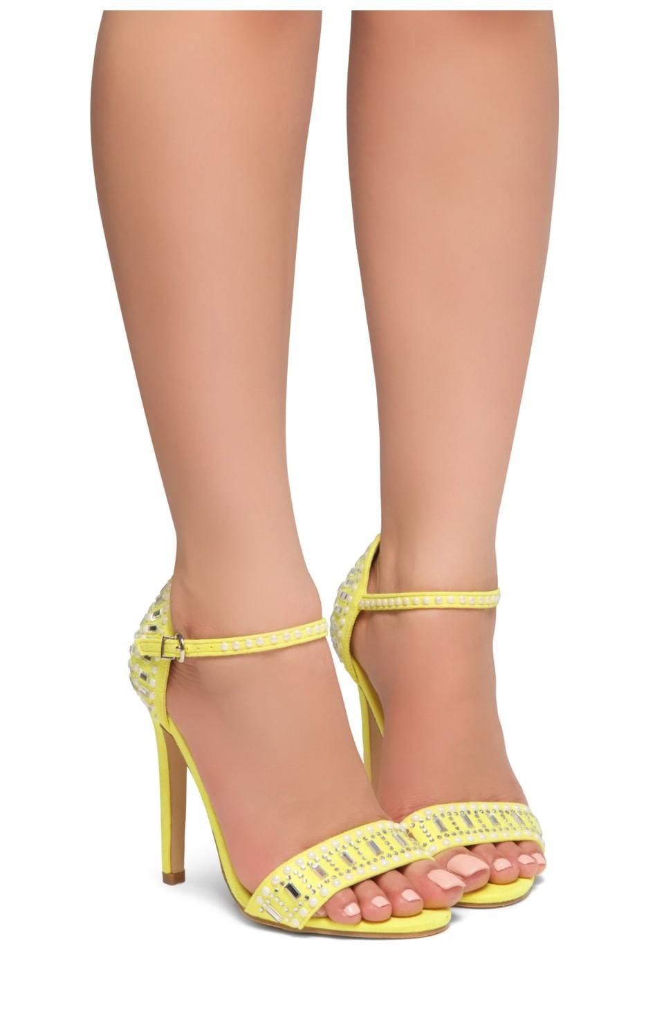 HerStyle Fashion Glam Ego- stiletto heel, jeweled embellishments (Yellow)