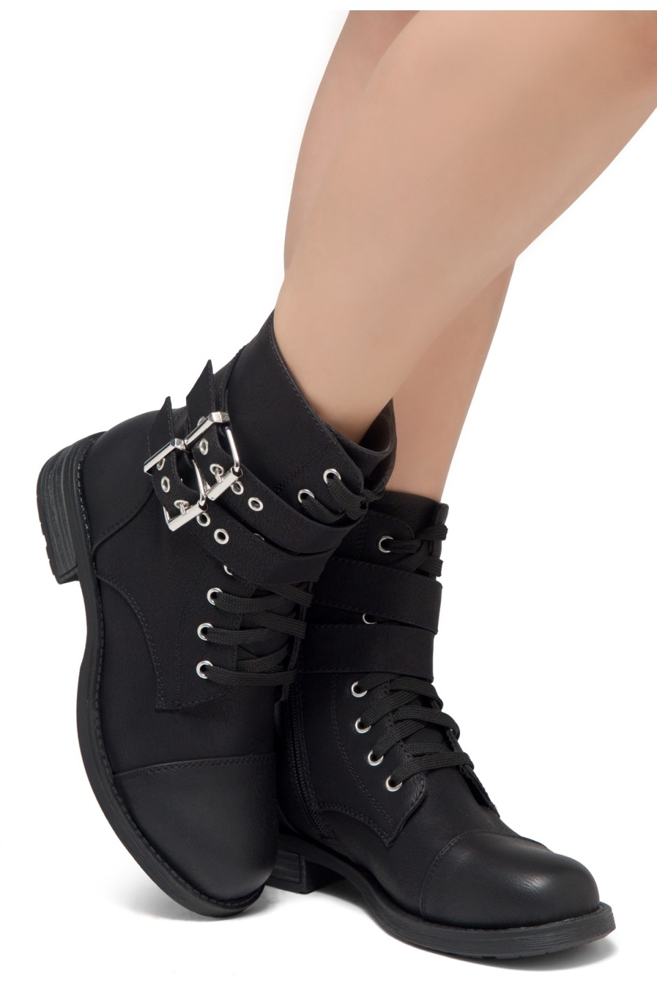 Women's Florence 2 Military Lace up, Double Buckled, Middle Calf Combat Boots(1721/Black)