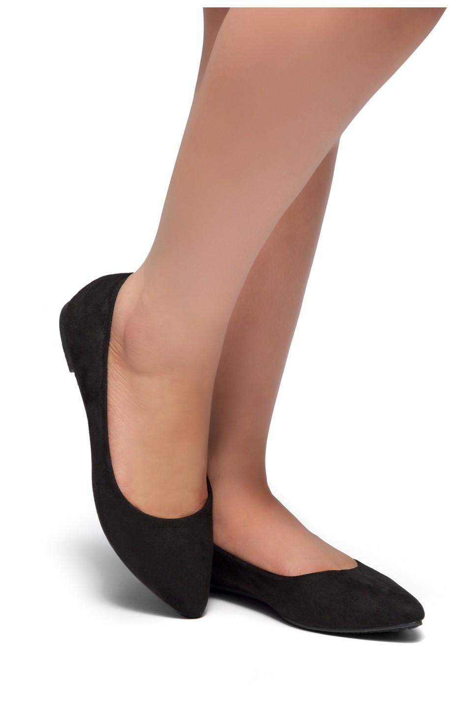 HerStyle Gemma-Pointed Toe Ballet Comfort (Black)