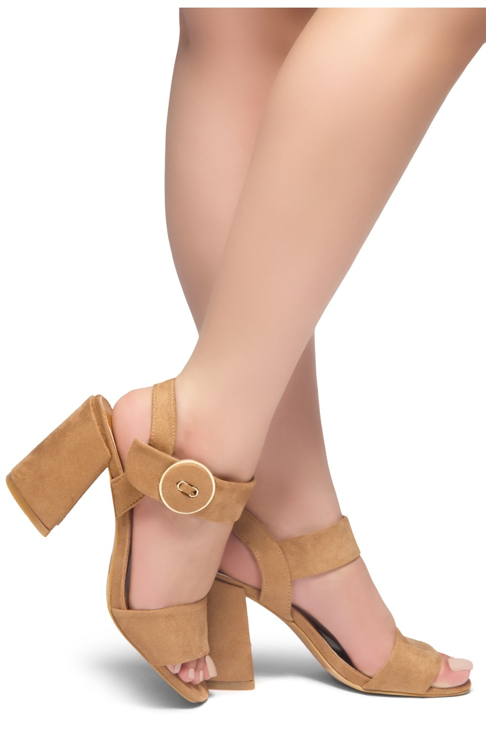 HerStyle HE GOT GAME- Ankle Strap Chunky Heel (Camel)
