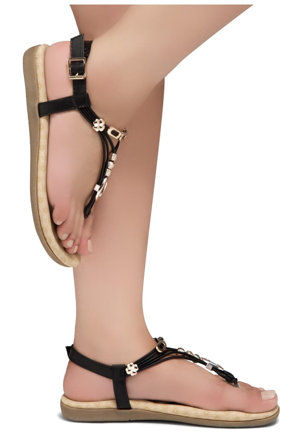 Shoe Land Issy-Manmade Women's Flat Sandal with Flirty Metallic Accents (Black)