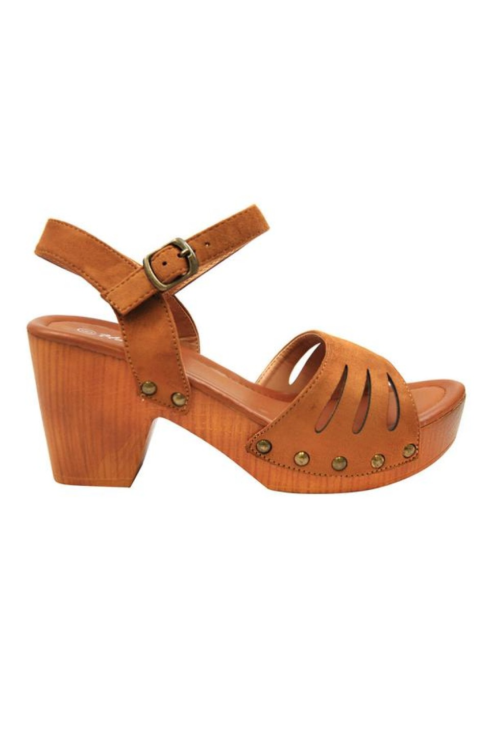 Women's Cognac Manmade Karrey 3-inch Heeled Sandal with Silver Studs