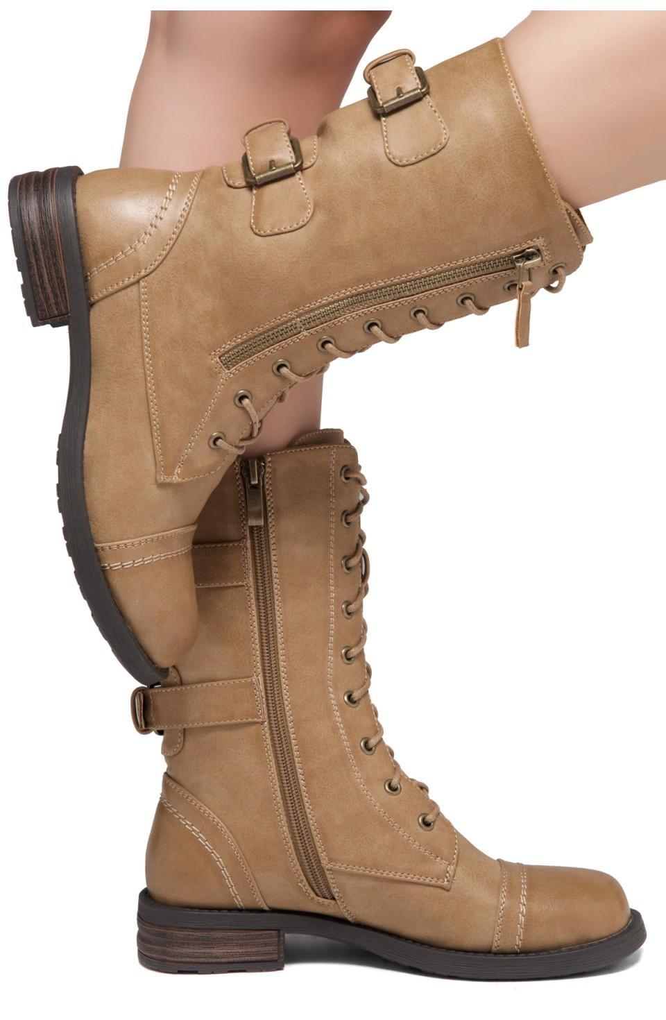 ShoeLand KASEY-Women's Military Lace Up Front, Zipper, Double Buckled, Combat Boots (Khaki)