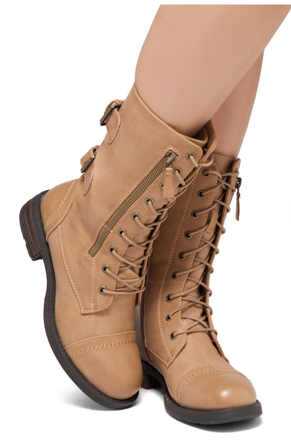 ShoeLand KASEY-Women's Military Lace Up Front, Zipper, Double Buckled, Combat Boots (Mauve)