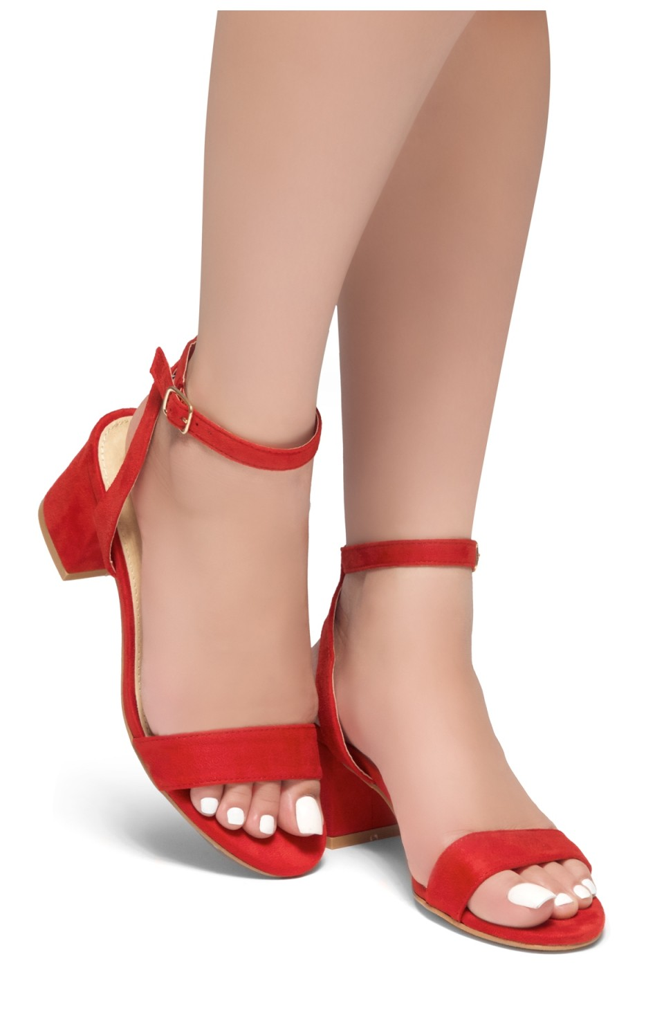 HerStyle KEEPTALKING-Suede Open Toe Ankle Strap Low Chunky Heel Sandal (Red)