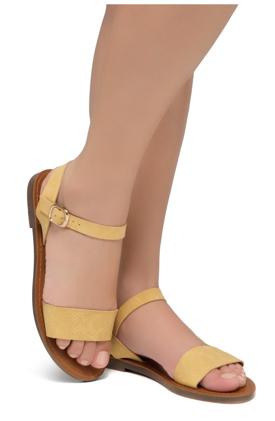Shoe Land Keetton- Women's Open Toes One Band Ankle Strap Flat Sandals (1896 MUSTNU)
