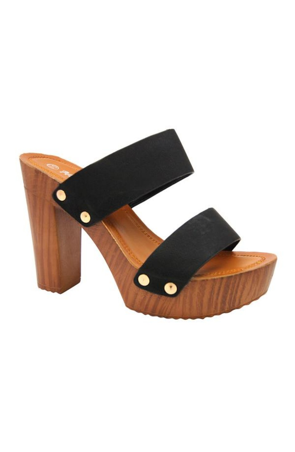 Women's Black Manmade Klaaree 4-inch Faux Wood Sandal with Gold-Tone Studs