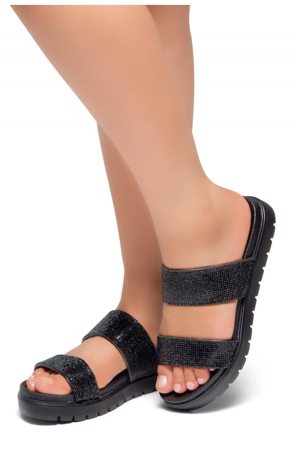 HerStyle Knock-Open Toe Jewelled Embellishment Slide Sandal (Black)