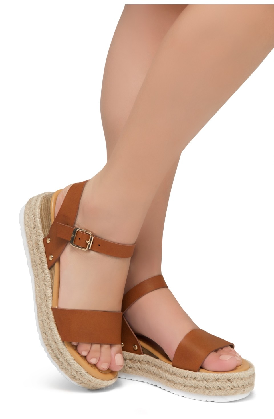 Shoe Land Legossa-Women's Open Toe Ankle Strap Platform Wedge Shoes Casual Espadrilles Trim Flatform Studded Wedge Sandals (Cognac)