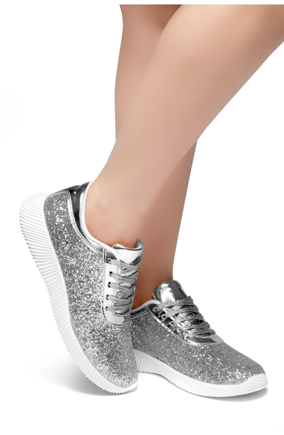 HerStyle LET'S GET LIT- lightly padded insole sneakers (Silver)