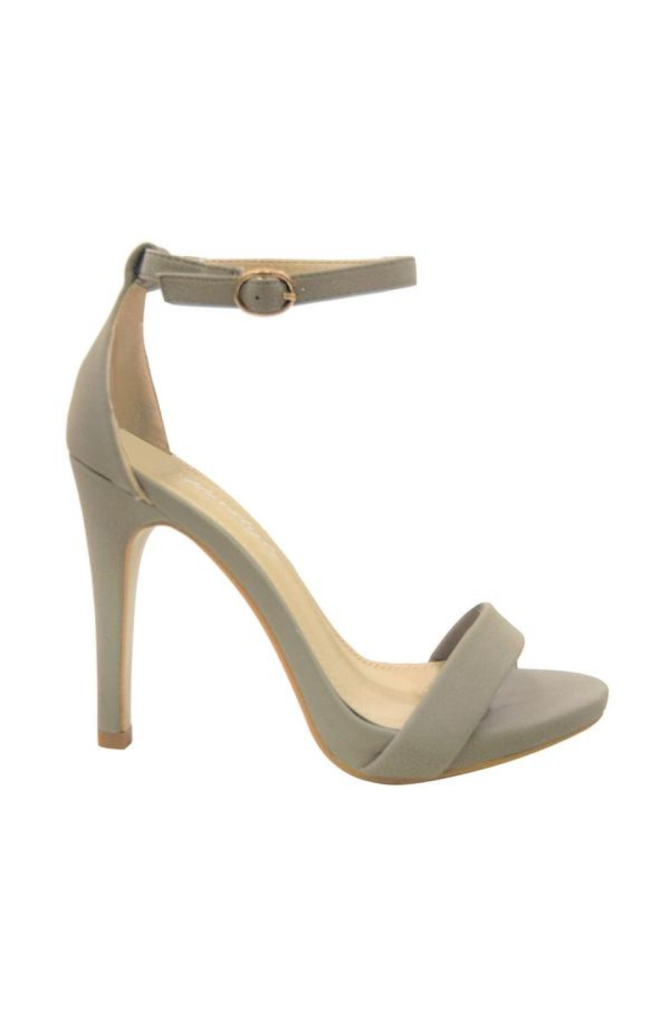 Women's Grey Manmade Livveey 4-inch Heeled Sandal with Glowing Ankle Buckle