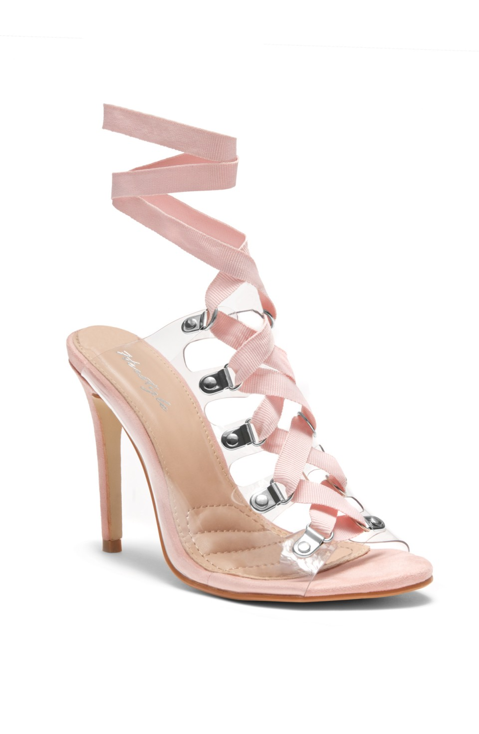 HerStyle Louisa stiletto heel, front lace-up, Lucite details (Clear Mauve)
