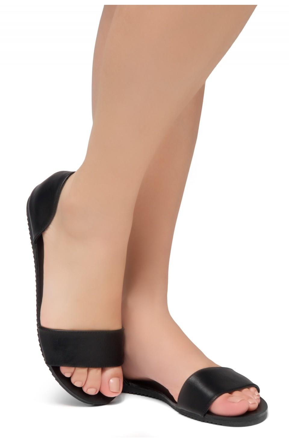 Women's Black Manmade Louissia Flat Sandal with Strap