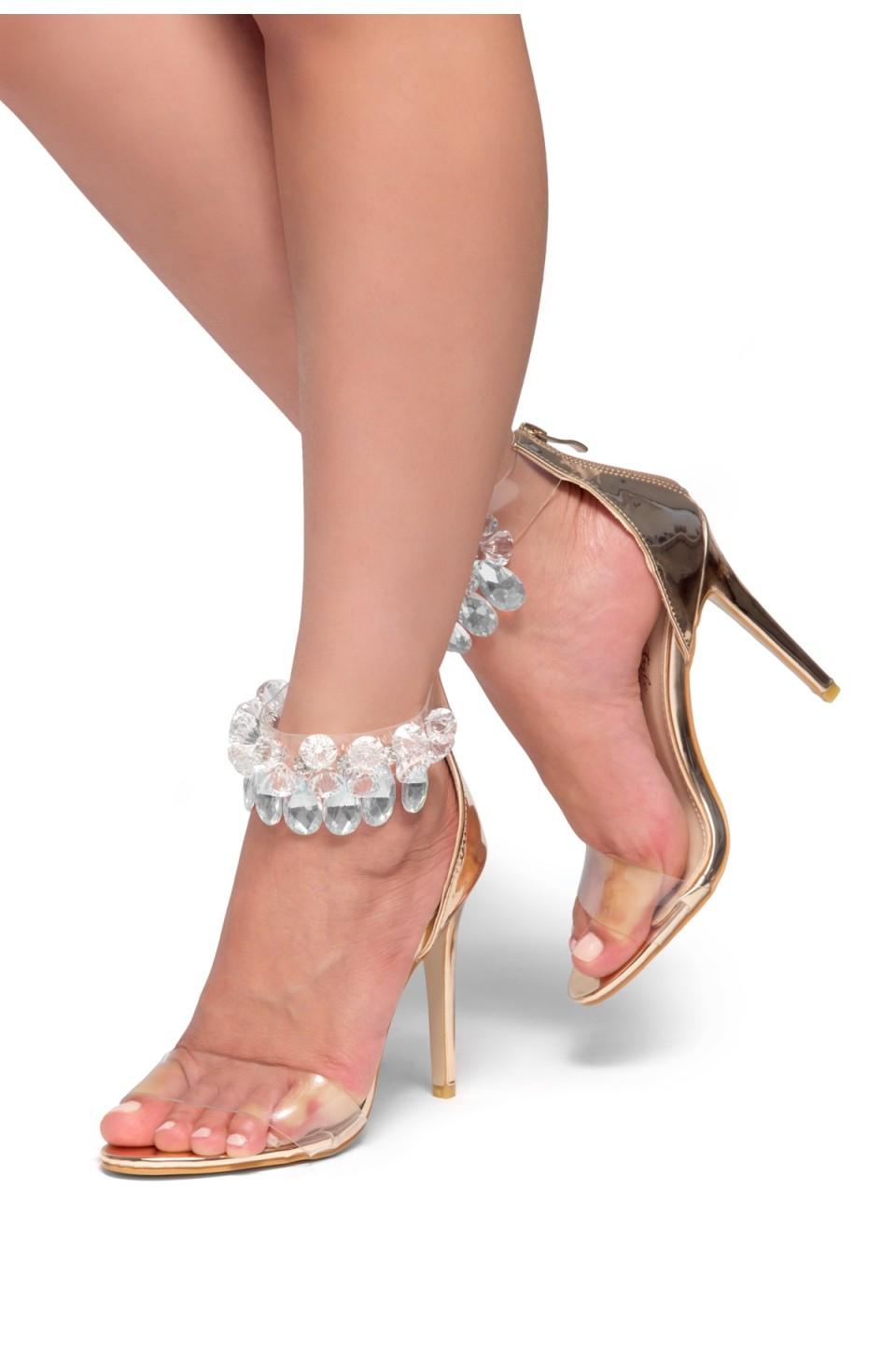 HerStyle Madalene Jewel Gem Embellished Perspex Heel  Faux Leather(Rose Gold)