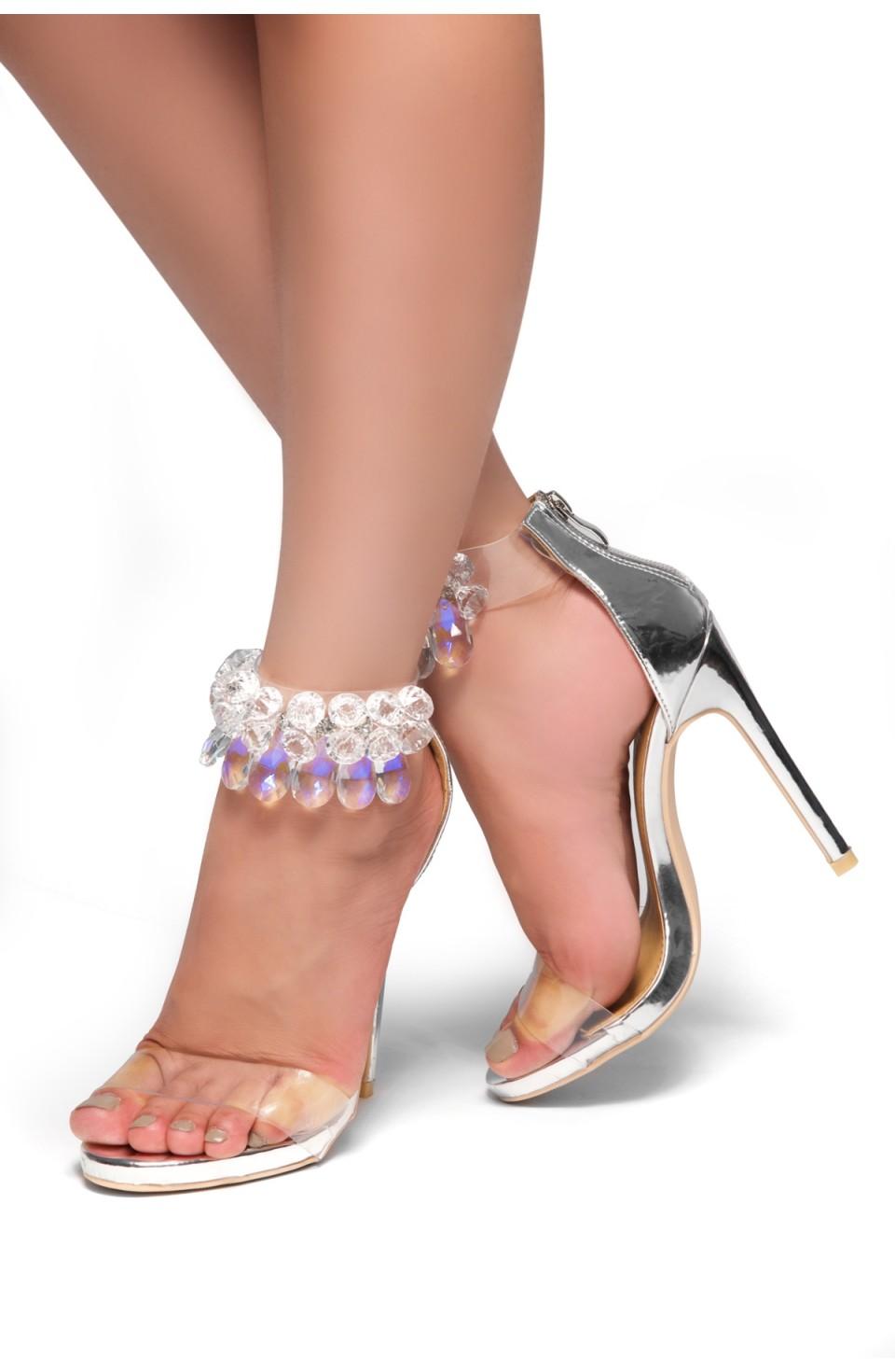 HerStyle Madalene Jewel Gem Embellished Perspex Heel  Faux Leather(Silver)