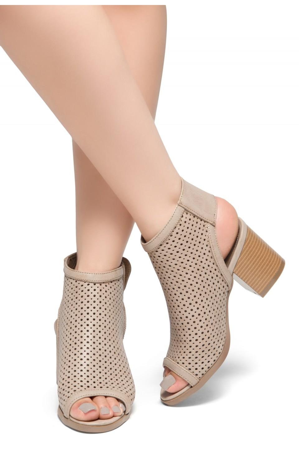HerStyle Maddie-Block heel, Sex Peep Toe Open Back Booties (Beige)
