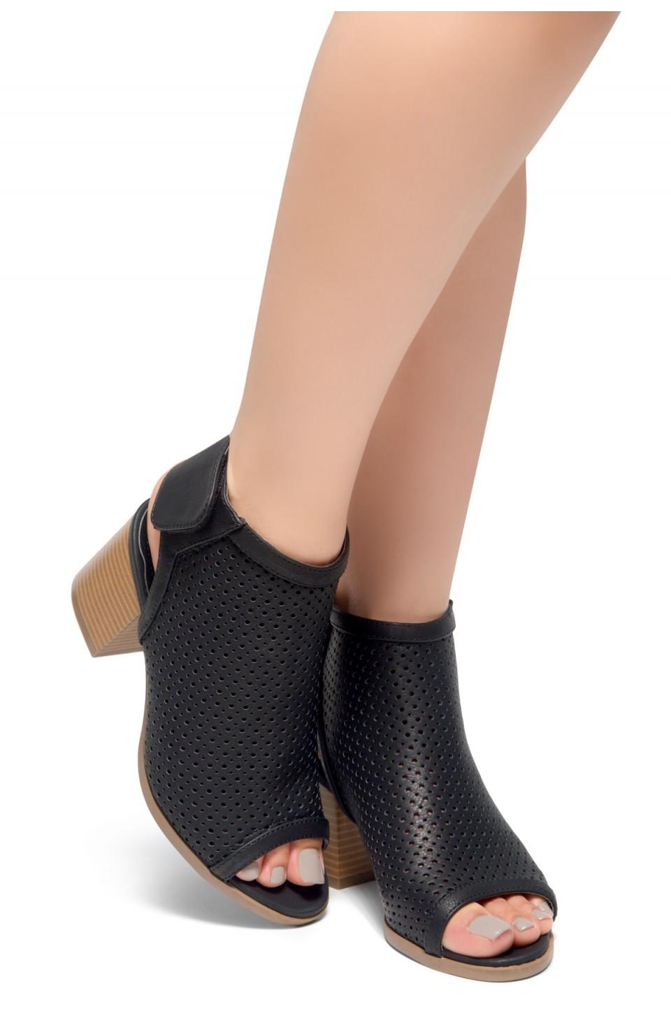 HerStyle Maddie-Block heel, Sex Peep Toe Open Back Booties (Black)