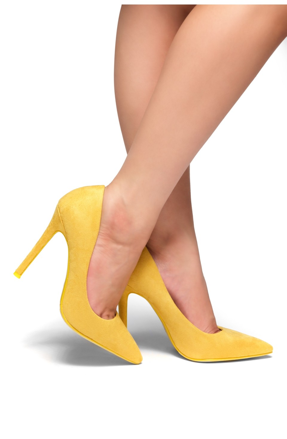HerStyle Marneena-Women's Manmade 4-inch Sueded Heel with Lightly Pointed Toe (Mustard)
