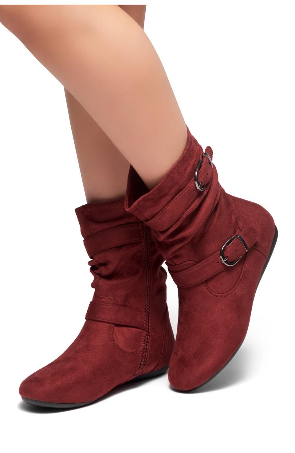 HerStyle Marvel-Round toe, stacked flat heel, buckle detail (Burgundy)