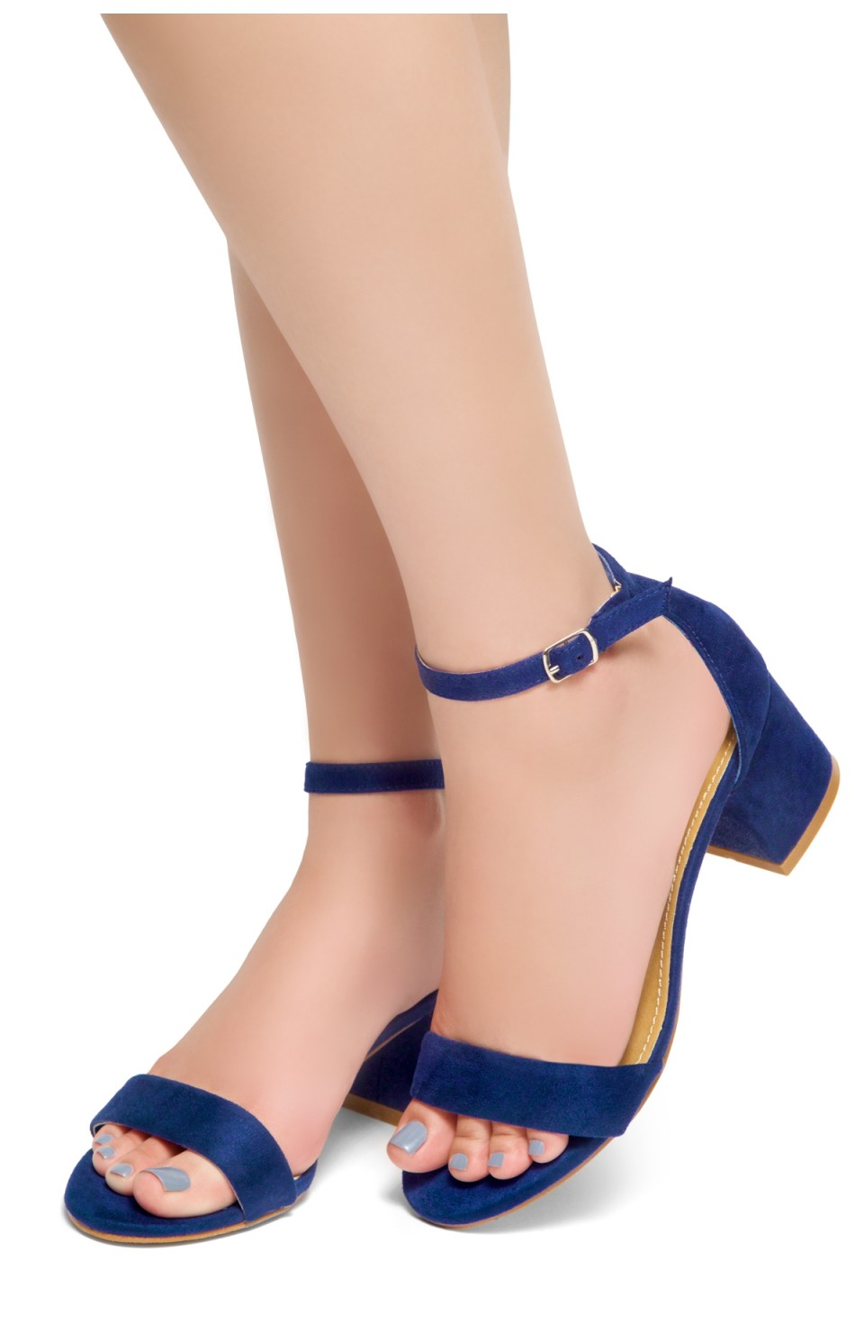 HerStyle Mischa - an open toe, block heel,ankle strap with an adjustable buckle (RoaylBlue)
