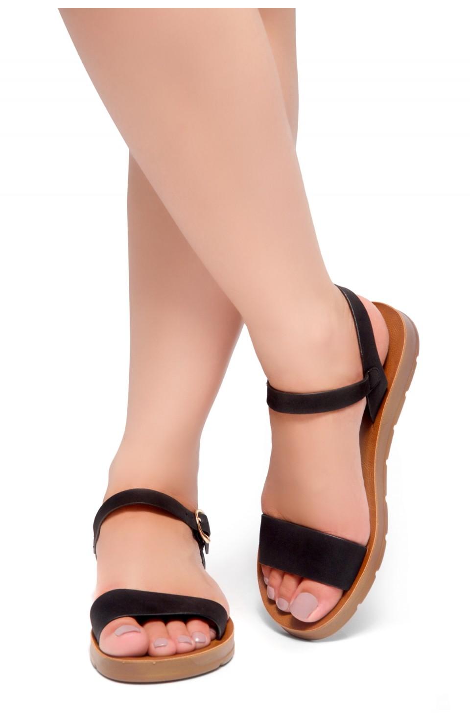 Shoe Land Monday-Women's Open Toe One Band Ankle Strap Flat Sandals (Black)