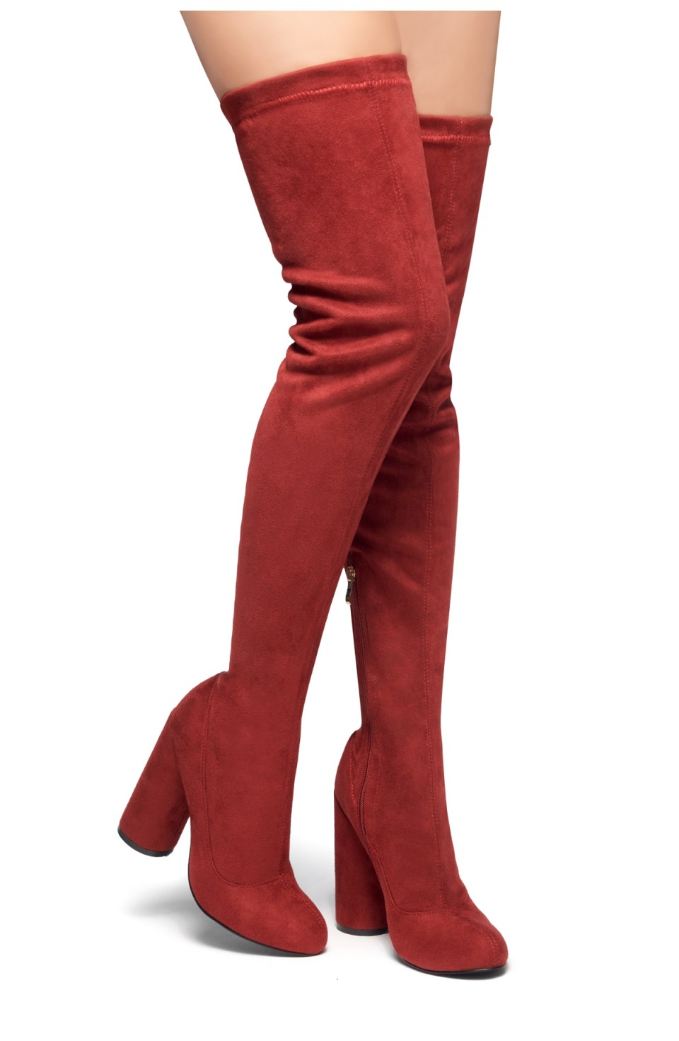 HerStyle Need you touch-Thigh High Block heel sock boot, Almond toe (Burgundy)
