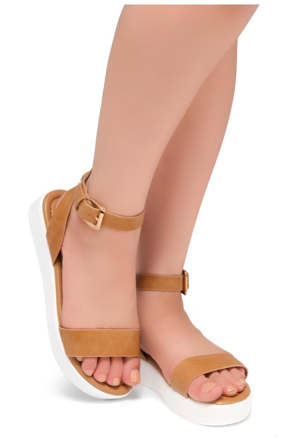 HerStyle Needed Me- Ankle Strap Flat Platform Sandal (Camel)