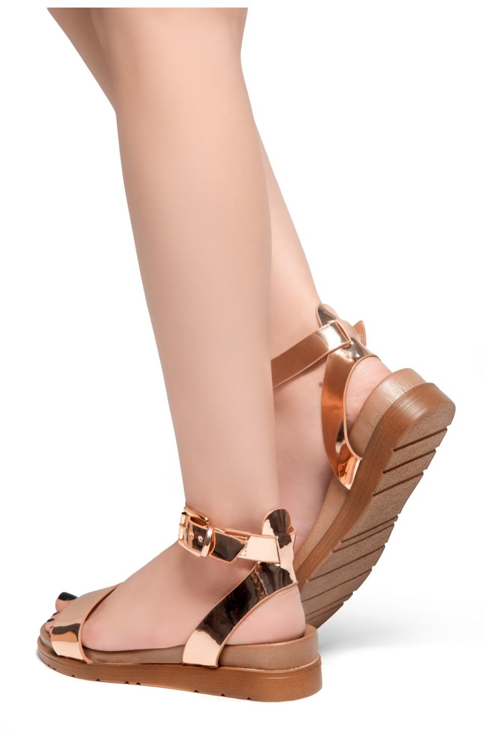 HerStyle Needed Me- Ankle Strap Flat Platform Sandal (RoseGold)