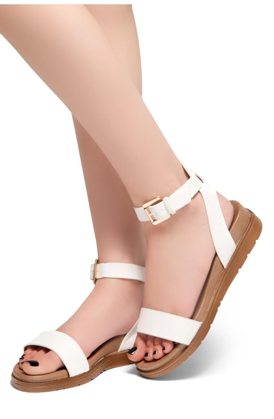 HerStyle Needed Me- Ankle Strap Flat Platform Sandal (White)