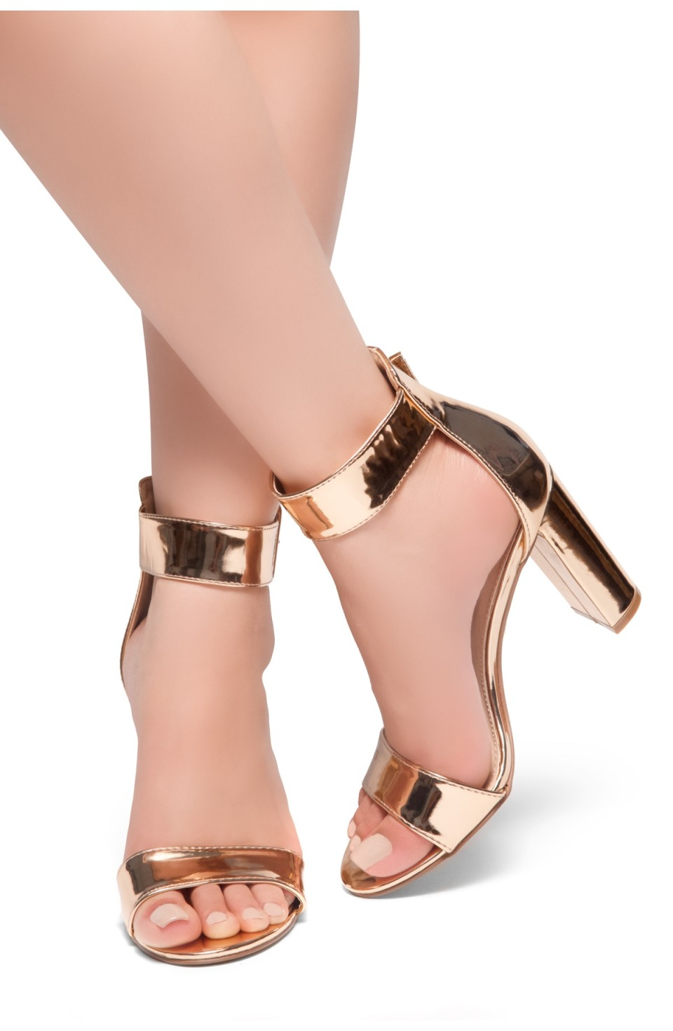 HerStyle NEEDED THIS-Open Toe Ankle Strap Chunky Heel Sandals (RoseGold)