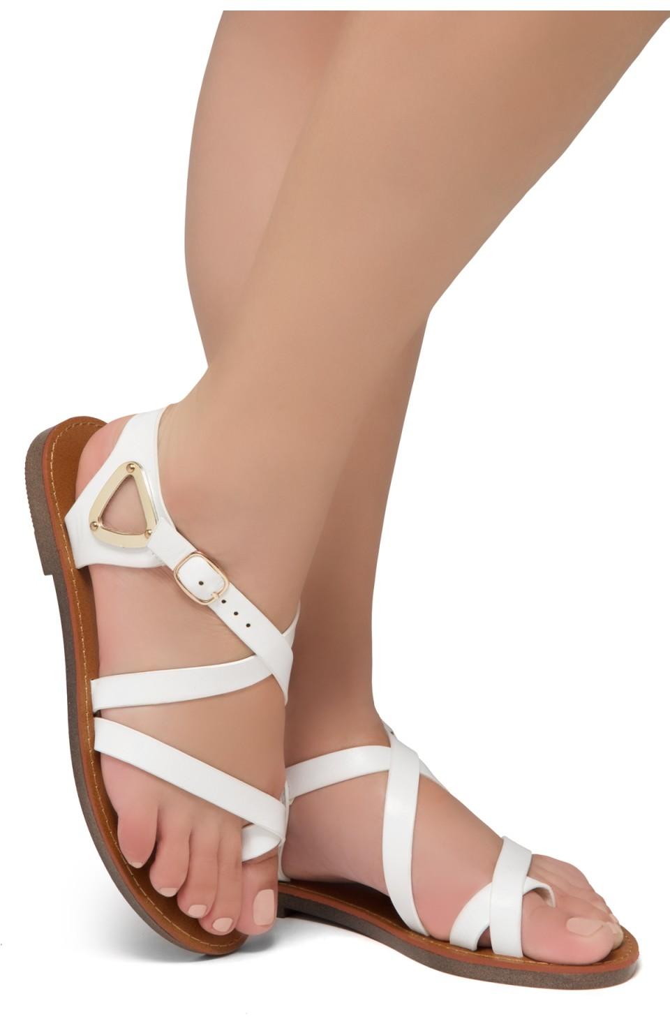 Shoe Land Needed-Women's Open Toe Flat Gladiator Sandals (White)
