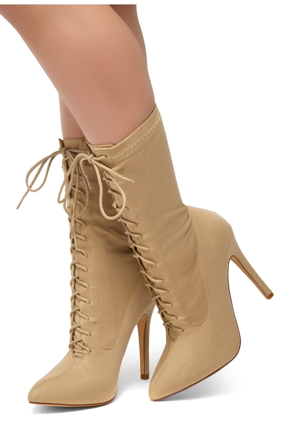 HerStyle Neely-Almond toe, stiletto heel, sock booties (Camel)