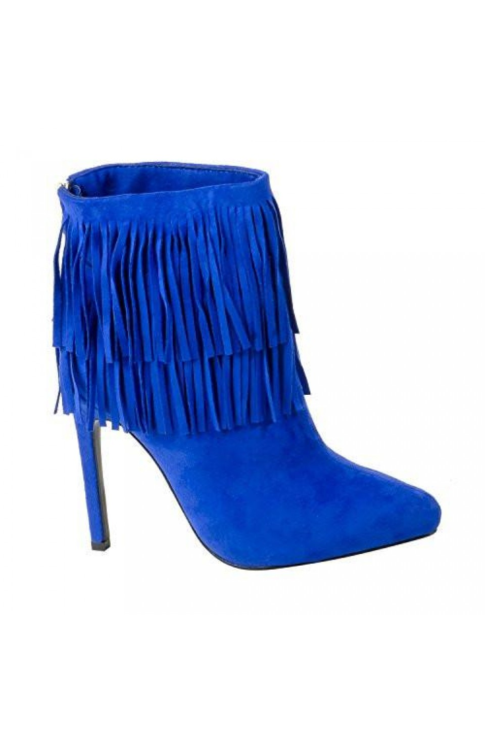 Women's Royal Blue Manmade Newpport 4.5-inch Heeled Bootie with Double Layer of Fringe