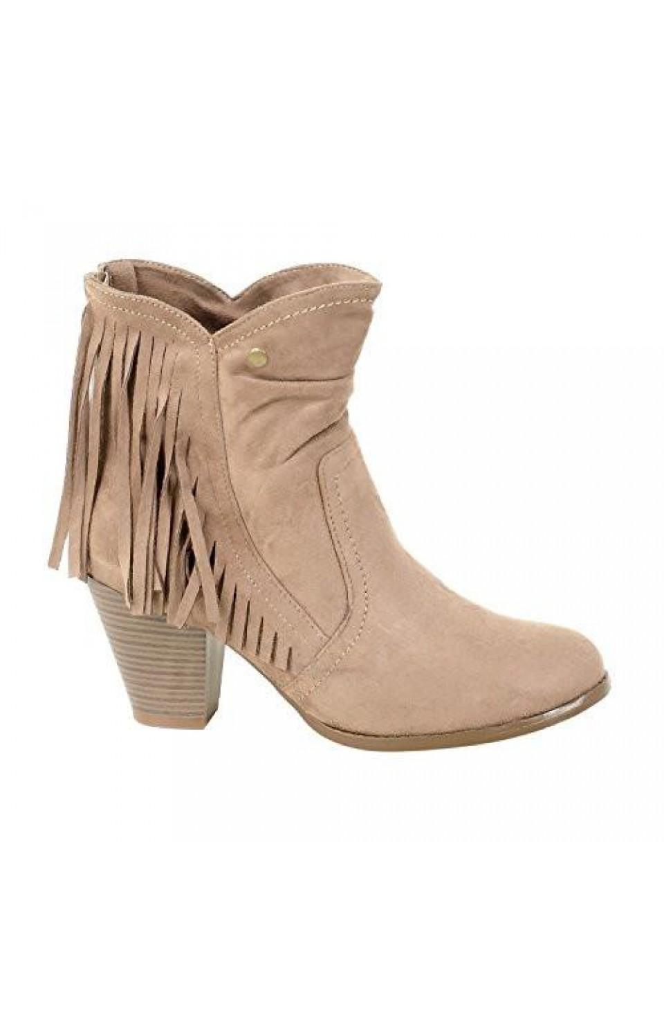 Women's Khaki Manmade Nickllenna 3-inch Heeled Boot with Western-Style Fringe
