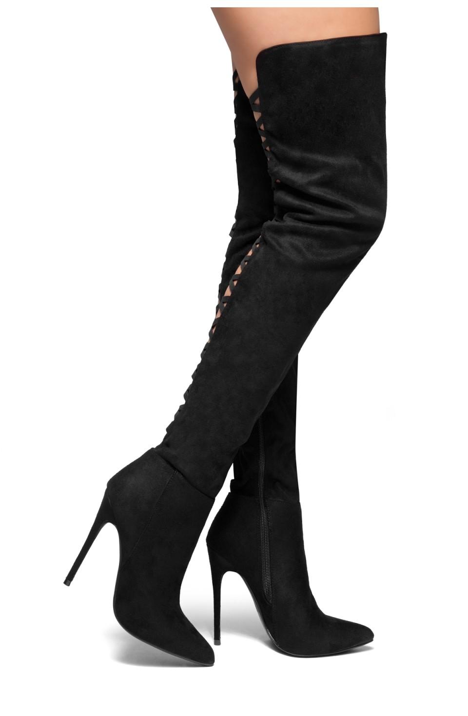 HerStyle Night Moves-Stiletto heel, thigh high (Black)